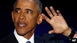 Shugaban Amurka Barack Obama yayinda yake yiwa Amurkawa jawabin bankwana