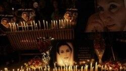 تصوری از بی نظیر بوتو، نخست وزیر ترور شده پاکستان در مراسمی که هوادارانش در اسلام آباد برپا کرده بودند