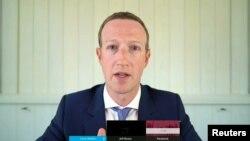 美國科技巨頭臉書的首席執行官扎克伯格7月29日在一聽證會上。