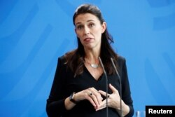 New Zealand Prime Minister Jacinda Ardern speaks during a press conference with German Chancellor Angela Merkel in Berlin, April 17, 2018.