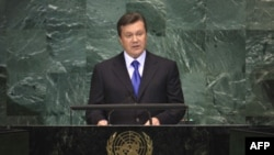 На фото Віктор Янукович виступає в ООН у вересні 2010-го року.