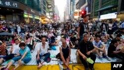 Người biểu tình đòi dân chủ tập trung ở quận Mong Kok của Hong Kong, ngày 30/9/2014.