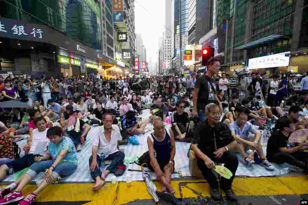 Pro-democracy protesters gather in the Mong Kok district of Hong Kong, Sept. 30, 2014.