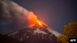 View of the Volcano Villarrica in southern Chile which began erupting on March 03, 2015 forcing the evacuation of some 3,000 people in nearby villages, the government said.
