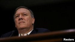FILE - Mike Pompeo testifies before a Senate Intelligence hearing on his nomination of to be become director of the CIA in Washington, Jan. 12, 2017.