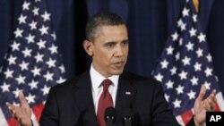President Barack Obama delivers his address on Libya at the National Defense University in Washington, March 28, 2011