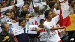 Biểu tình chống Trung Quốc tại Hà Nội, ngày 9/12/2012. (AP Photo / Na Son Nguyen)