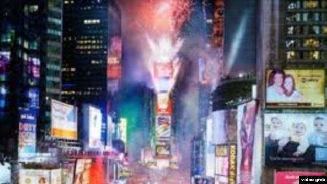 Puncak kemeriahan pesta menyambut tahun baru 2013 di New York, 31 Desember 2012.