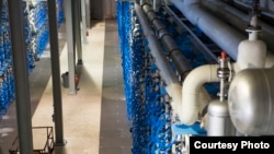 Some of the 2,000 pressure vessels housing more than 16,000 reverse osmosis membranes at the Carlsbad Desalination Plant in Carlsbad, Calif. Salt and other minerals are separated from the water with high pressure, making it fit for consumption.