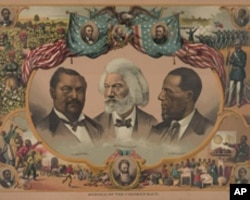 Douglass is prominent on this 1881 lithograph, Heroes of the Colored Race. The others are U.S. senators Blanche Kelso Bruce (left) and Hiram Revels (right).