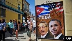 Foto prezidan Ameriken an, Barack Obama ak a Prezidan Kiben an, Raul Castro nan Havana, Kiba. 18 mas, 2016.