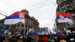 """""""Protest protiv diktature"""" ispred zgrade Vlade Srbije (AP Photo/Darko Vojinovic)"""