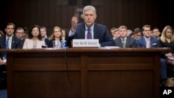 Supreme Court Justice nominee Neil Gorsuch testifies on Capitol Hill in Washington, March 21, 2017, at his confirmation hearing before the Senate Judiciary Committee.