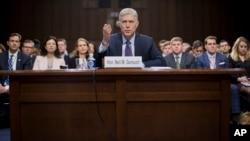 2017年3月21日,川普总统提名的最高法院大法官人选尼尔·戈萨奇参加参议院司法委员会的提名听证会。