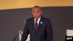 Le président de la CAF, Ahmad Ahmad, lors January 21, 2020 lors d'une rencontre au Caire, Egypte, le 21 janvier 2020.