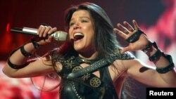 FILE - Ukrainian singer Ruslana performs in a dress rehearsal in Berlin, Germany.