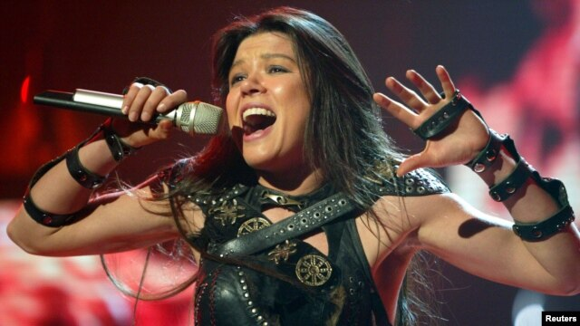 FILE - Ukrainian singer Ruslana performs in a dress rehearsal in Berlin, Germany.