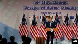 일본 히로시마에서 열린 G7 외무장관 회의에 참석한 존 케리 미 국무장관이 11일 기자회견을 하고 있다.