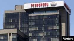 FILE - The office building of Petroleos del Peru (Petroperu), a state company dedicated to the refining, distribution and marketing of fuels, is seen at the district of San Isidro in Lima, April 7, 2015.