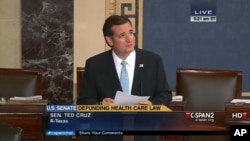 In an image made from the C-Span broadcast, Senator Ted Cruz continues to speak on the floor of the U.S. Senate at 5:21 a.m. EDT on Wednesday, September 25, 2013.