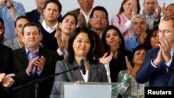 Keiko Fujimori, putri mantan diktator Peru Alberto Fujimori, mengakui kalah dalam Pilpres pada pidato di Lima, Peru hari Jumat (10/6).