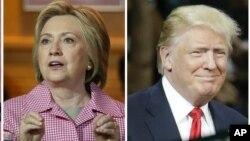 La candidate démocrate Hillary Clinton, à Oakland, Californie, le 27 mai 2016, et le probable candidat républicain Donald Trump, à Fresno, Californie, le 27 mai 2016.