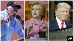 (ពីឆ្វេងទៅស្តាំ) រូបថតលោក Bernie Sanders និងលោកស្រី Hillary Clinton មកពីគណបក្សប្រជាធិបតេយ្យ និងលោក Donald Trump នៃគណបក្សសាធារណរដ្ឋ ដែលជាបេក្ខជនចុងក្រោយនៃការប្រកួតប្រជែងដើម្បីបានក្លាយជាបេក្ខជនប្រធានាធិបតីជាផ្លូវការ។