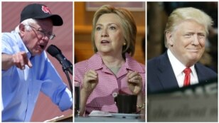 From left, Democratic presidential candidates Bernie Sanders, in Santa Maria, Calif., May 28, 2016, and Hillary Clinton, in Oakland, Calif., May 27, 2016, and presumptive Republican presidential candidate Donald Trump, in in Fresno, Calif., May 27, 2016.
