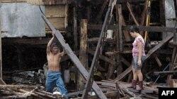Thị trấn Nalgae nằm về phía bắc Manila, Philippines, nơi bị ảnh hưởng bão Nalgae, ngày 1 tháng 10, 2011