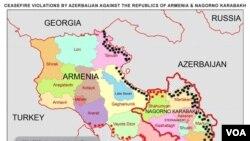 AAA MAP OF CEASEFIRE VIOLATIONS BY AZERBAIJAN AGAINST THE REPUBLICS OF ARMENIA & NAGORNO KARABAKH