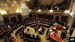Members of New York's Electoral College meet in the New York state Senate Chamber to elect President Barack Obama and Vice President Joseph Biden, in Albany, N.Y., December 17, 2012.