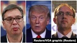 Dari kiri: Presiden Serbia Aleksandar Vucic, Presiden AS Donald Trump dan PM Kosovo Avdullah Hoti.
