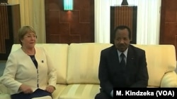 FILE - U.N. High Commissioner for Human Rights Michelle Bachelet meets President Paul Biya, Yaounde, Cameroon, May 3, 2019.