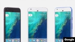 Google's new Pixel phones have an aluminum body and glass case, sold in three colors – Quite Black, Very Silver and Really Blue. (Google)