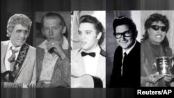 Культовые рок-н-ролл музыканты (слева направо): Карл Перкинс, Джерри Ли Льюис, Элвис Пресли, Рой Орбисон, Литл Ричард