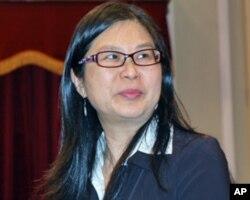 台湾陆委会主任委员赖幸媛在记者会上