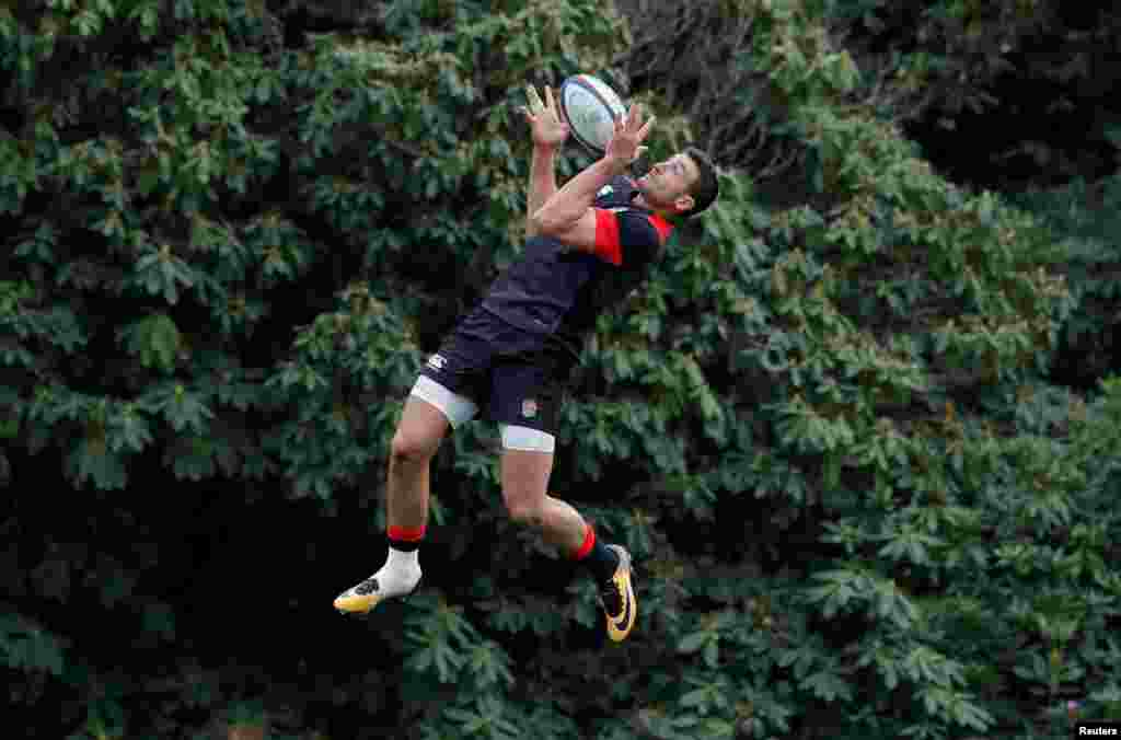 England's Jonny May during a training session in Pennyhill Park in London