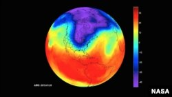NASA's Atmospheric Infrared Sounder (AIRS) instrument captures a polar vortex moving from Central Canada into the U.S. Midwest from January 20 through January 29, 2019. (NASA/JPL-Caltech AIRS Project)