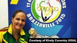 Kirsty Coventry at the 2015 All Africa Games in Congo, Brazzaville, where she won 3 gold medals and a bronze.