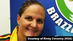 FILE: Kirsty Coventry at the 2015 All Africa Games in Congo, Brazaville, where she won 3 gold medals and a bronze.