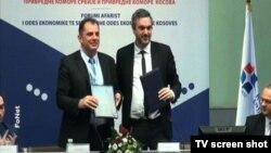 Predsednici Privrednih komora Kosova i Srbije, Safet Grdžaliju (levo) i Marko Čadež, Beograd 21. decembar 2015.