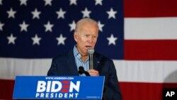 조 바이든 전 미국 부통령 지난달 1일 아이오와주 아이오와시티에서 열린 집회에서 연설하고 있다.