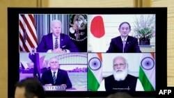 四方安全對話機製成員國通過視頻舉行高峰會議。(2021年3月12日)