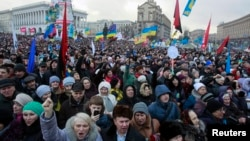 Anti-government protesters attend a rally at Independence Square in Kyiv Jan. 12, 2014.