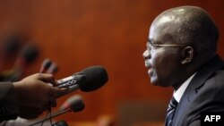 FILE - Burundi's second vice president, Gervais Rufyikiri, is seen taking a question during a press conference.