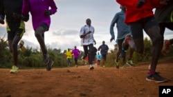 Wanariadha wa Kenya katika mazoezi magharibi mwa Kenya