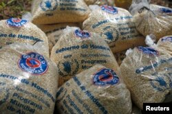 FILE - Bags of provisions, donated by the United Nations World Food Program (WFP) food reserves, are seen during a distribution of food aid to families affected by the drought in the village of Orocuina, Aug. 28, 2014.