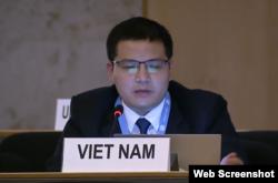 Đại diện của Đoàn Việt Nam phát biểu tại phiên họp của Hội đồng Nhân quyền LHQ, ngày 15/09/2020. UN Web TV.