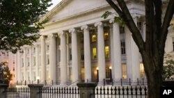 FILE - The U.S Treasury Building in Washington, Oct. 16, 2013.