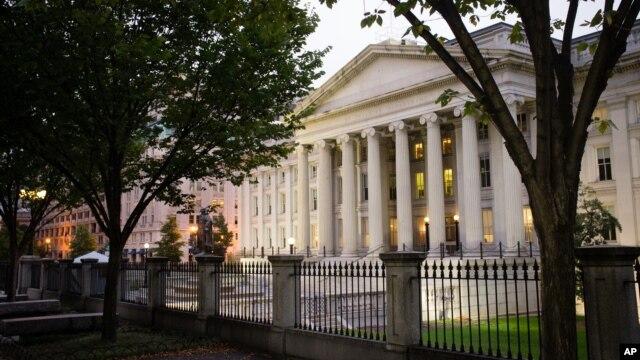 FILE - The U.S. Treasury Department building in Washington.